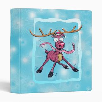 Cute Christmas holidays deer on ice winter cartoon Binder
