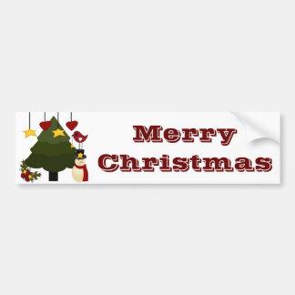 Cute Christmas Holidays Tree Snowman Stars Bird Car Bumper Sticker