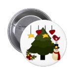 Cute Christmas Holidays Tree Snowman Stars Bird 2 Inch Round Button
