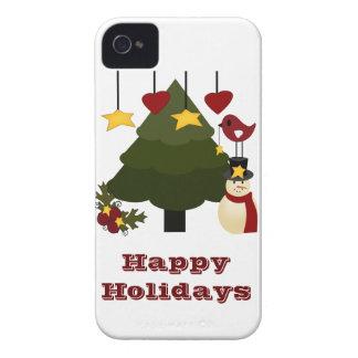 Cute Christmas Holidays Tree Snowman Stars Bird iPhone 4 Case