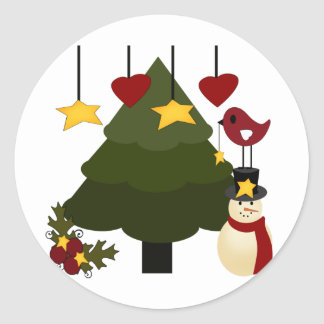 Cute Christmas Holidays Tree Snowman Stars Bird Classic Round Sticker
