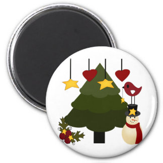 Cute Christmas Holidays Tree Snowman Stars Bird Magnet