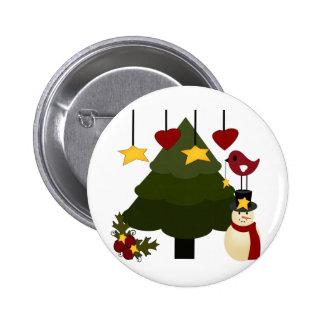 Cute Christmas Holidays Tree Snowman Stars Bird Pinback Button