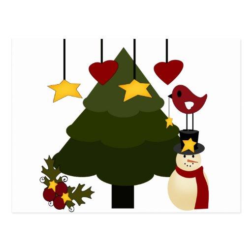Cute Christmas Holidays Tree Snowman Stars Bird Postcard