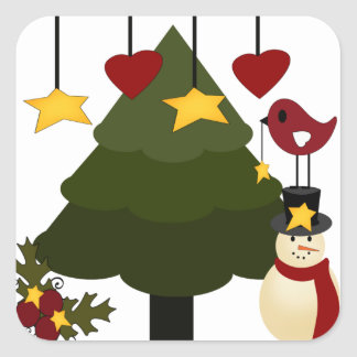 Cute Christmas Holidays Tree Snowman Stars Bird Square Sticker