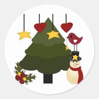 Cute Christmas Holidays Tree Snowman Stars Bird Round Sticker