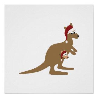 Cute Christmas Kangaroos Poster
