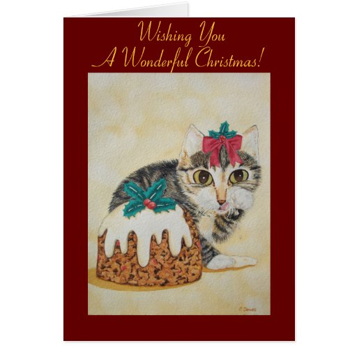cute Christmas kitten and pudding greeting card Cards