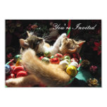 Cute Christmas Kittens in Love on Xmas Eve 3.5x5 Paper Invitation Card