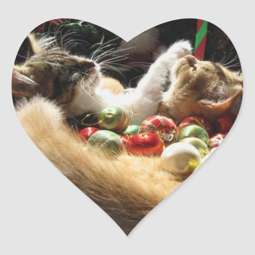 Cute Christmas Kittens in Love on Xmas Eve Stickers