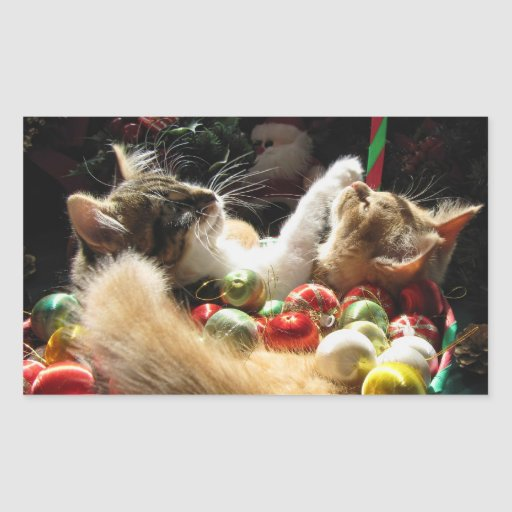 Cute Christmas Kittens in Love on Xmas Eve Rectangular Stickers