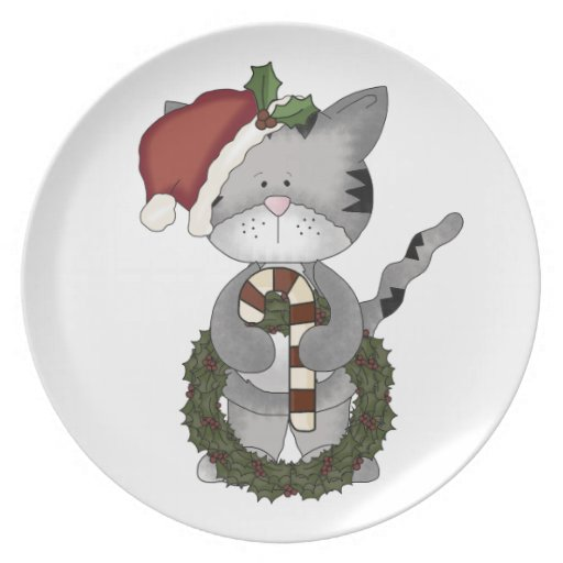 Cute Christmas Kitty-Candy Cane+Wreath Plate