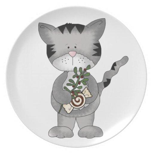 Cute Christmas Kitty-Candy+Mistletoe Plates