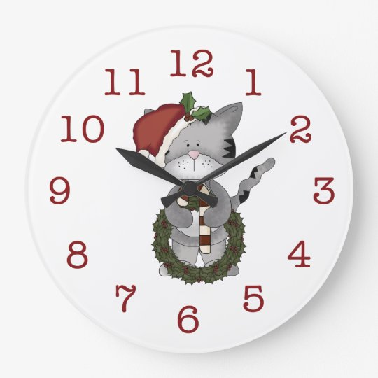 Cute Christmas Kitty-with wreath/candy cane. Large Clock