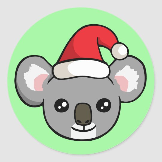 Christmas Hat Drawing.Cute Christmas Koala In Santa Hat Drawing Stickers