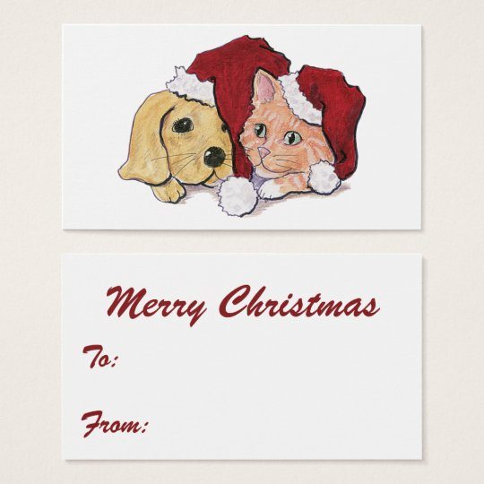 Cute Christmas Labrador Puppy and Orange Tabby Business Card