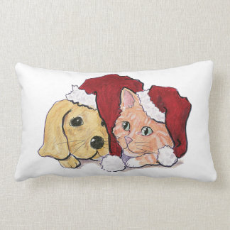 Cute Christmas Labrador Puppy and Orange Tabby Lumbar Pillow