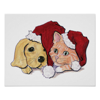 Cute Christmas Labrador Puppy and Orange Tabby Poster