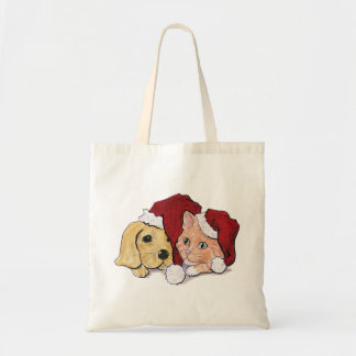 Cute Christmas Labrador Puppy and Orange Tabby Tote Bag