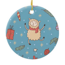 Cute Christmas Lamb Ceramic Ornament