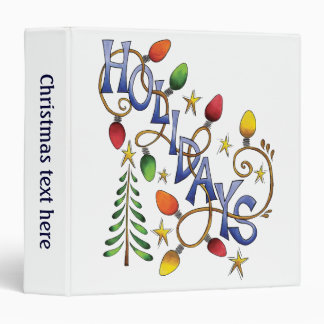 Cute Christmas, Lights and Stars with Holiday Text Vinyl Binders