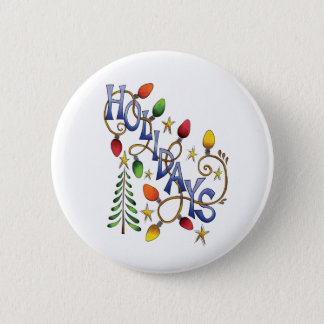 Cute Christmas, Lights and Stars with Holiday Text Button
