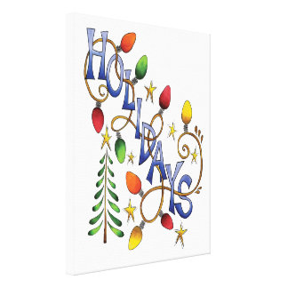 Cute Christmas, Lights and Stars with Holiday Text Canvas Print