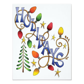 Cute Christmas, Lights and Stars with Holiday Text Card