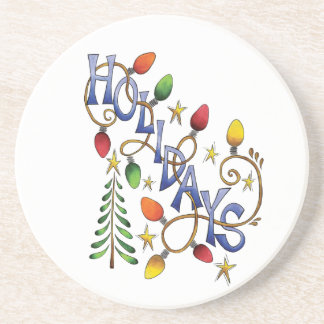 Cute Christmas, Lights and Stars with Holiday Text Coaster