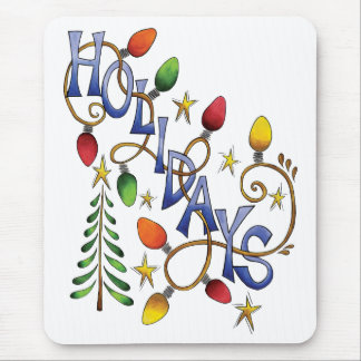 Cute Christmas, Lights and Stars with Holiday Text Mouse Pad