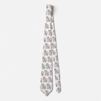 Cute Christmas, Lights and Stars with Holiday Text Neck Tie