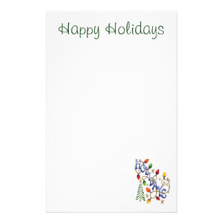 Cute Christmas, Lights and Stars with Holiday Text Stationery