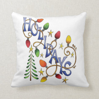 Cute Christmas, Lights and Stars with Holiday Text Throw Pillow