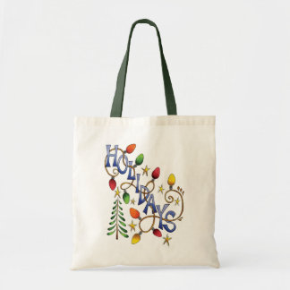 Cute Christmas, Lights and Stars with Holiday Text Tote Bag