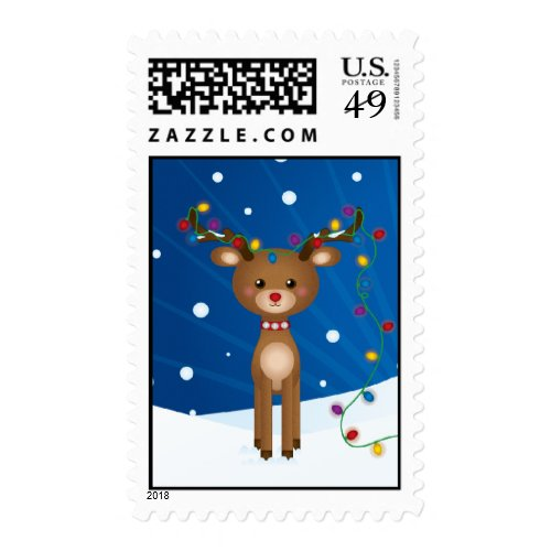 Cute Christmas Lights Reindeer Postage