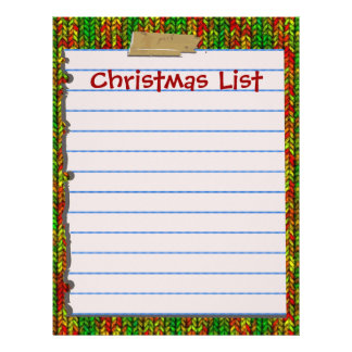 Cute Christmas List Letterhead Stationery