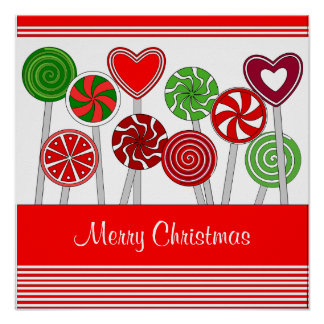 Cute Christmas Lollipops Poster