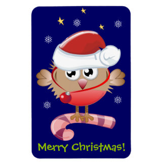 Cute Christmas magnet with Santa hat bird & text