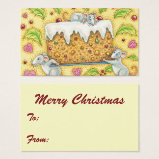 Cute Christmas Mice Carrying a Fruit Cake Dessert Business Card