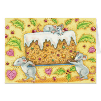 Cute Christmas Mice Carrying a Fruit Cake Dessert Card