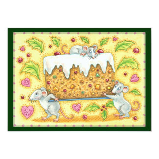 Cute Christmas Mice Carrying a Fruit Cake Dessert Custom Invite