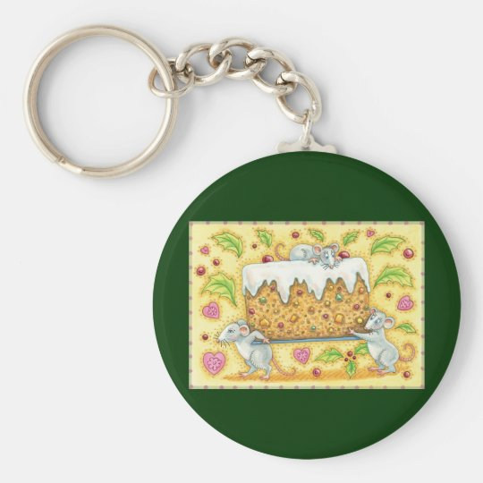 Cute Christmas Mice Carrying a Fruit Cake Dessert Keychain