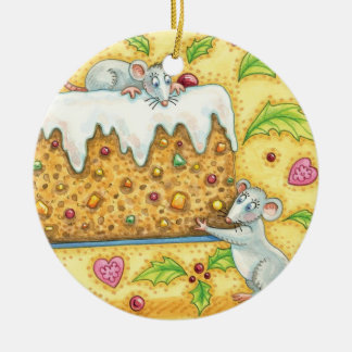 Cute Christmas Mice Carrying a Fruit Cake Dessert Double-Sided Ceramic Round Christmas Ornament