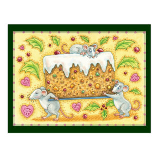 Cute Christmas Mice Carrying a Fruit Cake Dessert Post Cards