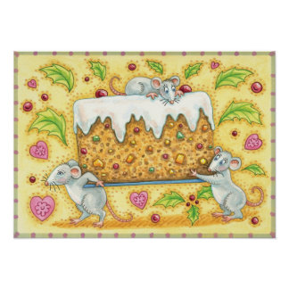 Cute Christmas Mice Carrying a Fruit Cake Dessert Poster
