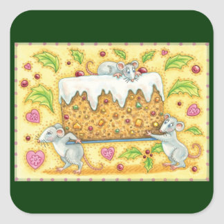 Cute Christmas Mice Carrying a Fruit Cake Dessert Square Sticker