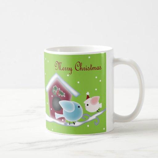 Cute Christmas mistletoe Kissing birds Coffee Mugs