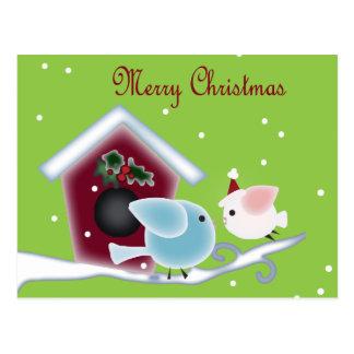 Cute Christmas mistletoe Kissing birds Postcard