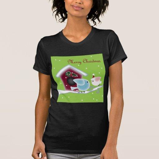 Cute Christmas mistletoe Kissing birds Tshirts