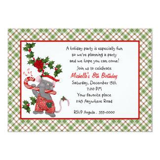"Cute Christmas Mouse Birthday Invitation 5"" X 7"" Invitation Card"